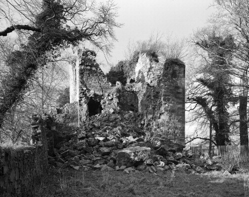 View of Cathcart Castle tower after collapse, December 1979