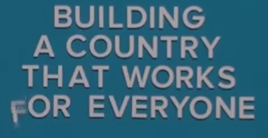 Screen grab of 'Building a country that works for everyone' sign with falling letter 'f'