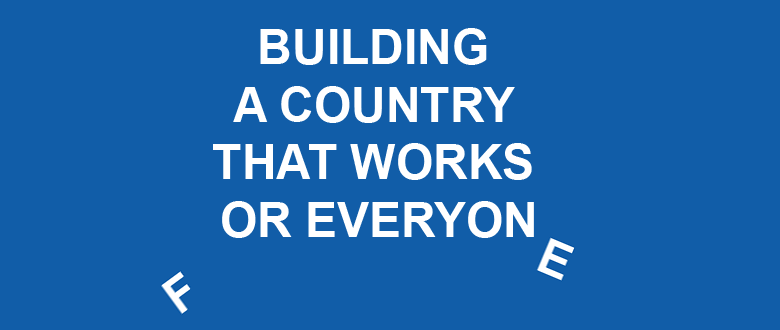 Illustration of 'Building a country that works for everyone' sign with falling letters