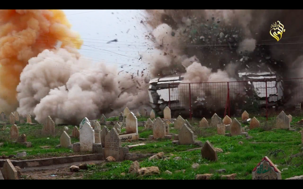 The destruction by ISIS of a Muslim cemetery in northern Iraq, Ninive Province