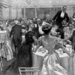 Illustration of New Year's Eve Dinner at Pilgrims Society venue the Savoy in 1906