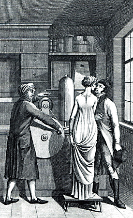 Illustration of the moment of the Leibniz Kiss