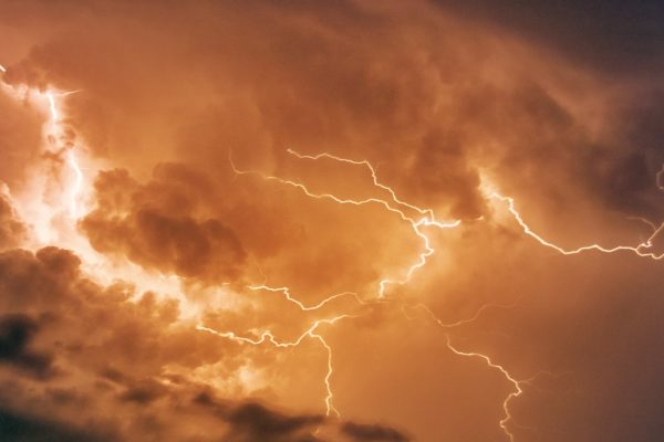 Photograph of a thunderstorm.