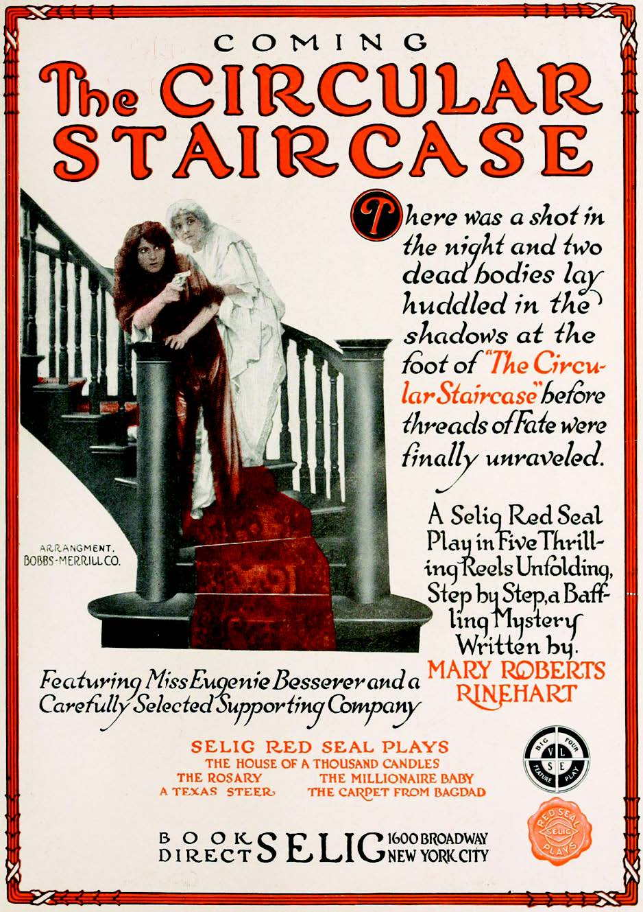 Trade advertisement for The Circular Staircase (Selig Polyscope, 1915), published in Motion Picture News on September 11, 1915.
