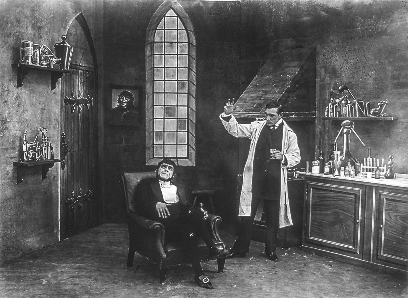 Double-exposed publicity still of Alwin Neuss as the title characters in Dr. Jekyll and Mr. Hyde; or, a Strange Case (Great Northern, 1910). (Courtesy of Robert J. Kiss)