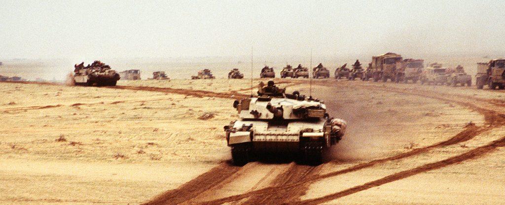 Photograph of a British Challenger battle tank during Operation Desert Storm