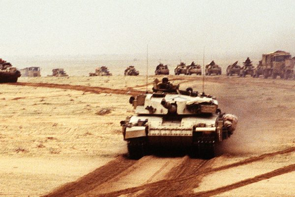Photograph of a British Challenger battle tank during Operation Desert Storm
