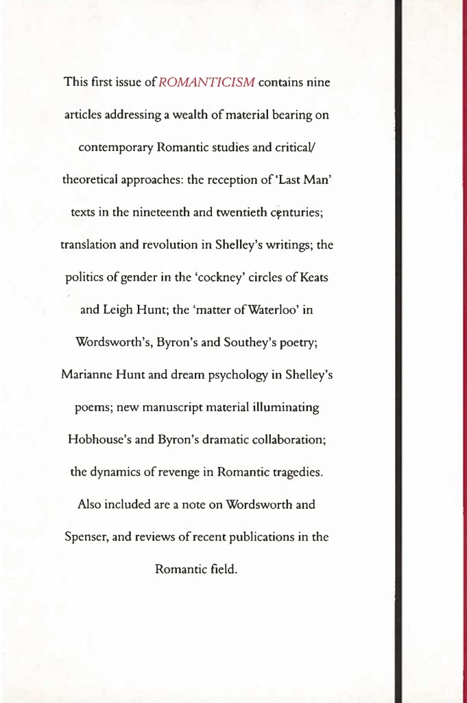 Back cover of the first issue of Romanticism (1995).