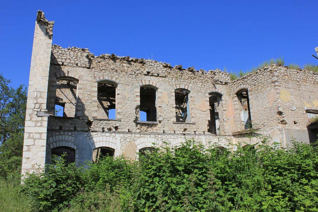Photograph of buildings Shusha (known as Shushi in Armenian sources), the historical capital of Nagorny Karabakh, abandoned due to the Armenian–Azerbaijani conflict