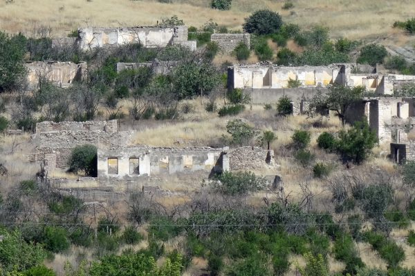 Photograph of ruins in the Nagorno-Karabakh region as a result of the Armenian–Azerbaijani conflict