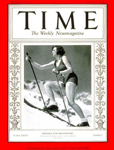 Cover of Time Magazine 1936 - Leni Riefenstalh on skis