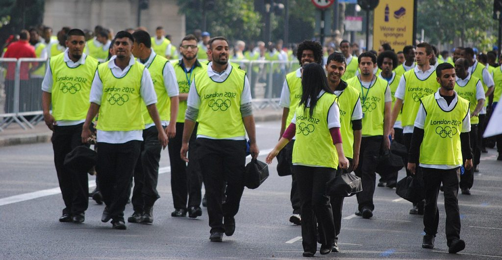 Photograph of volunteers wearing hi-vis at the London 2012 Olympics