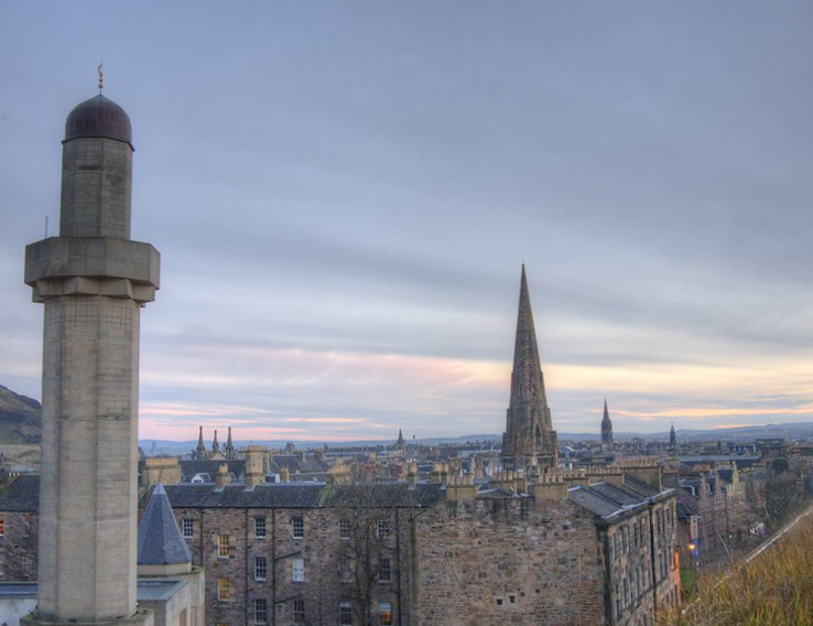 Photograph of Edinburgh skyline showing minaret and church and other spires.