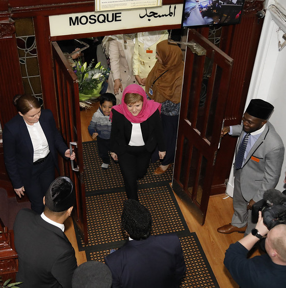 Photograph: Scottish First Minister Nicola Sturgeon visits Ahmadiyya Mosque in Glasgow