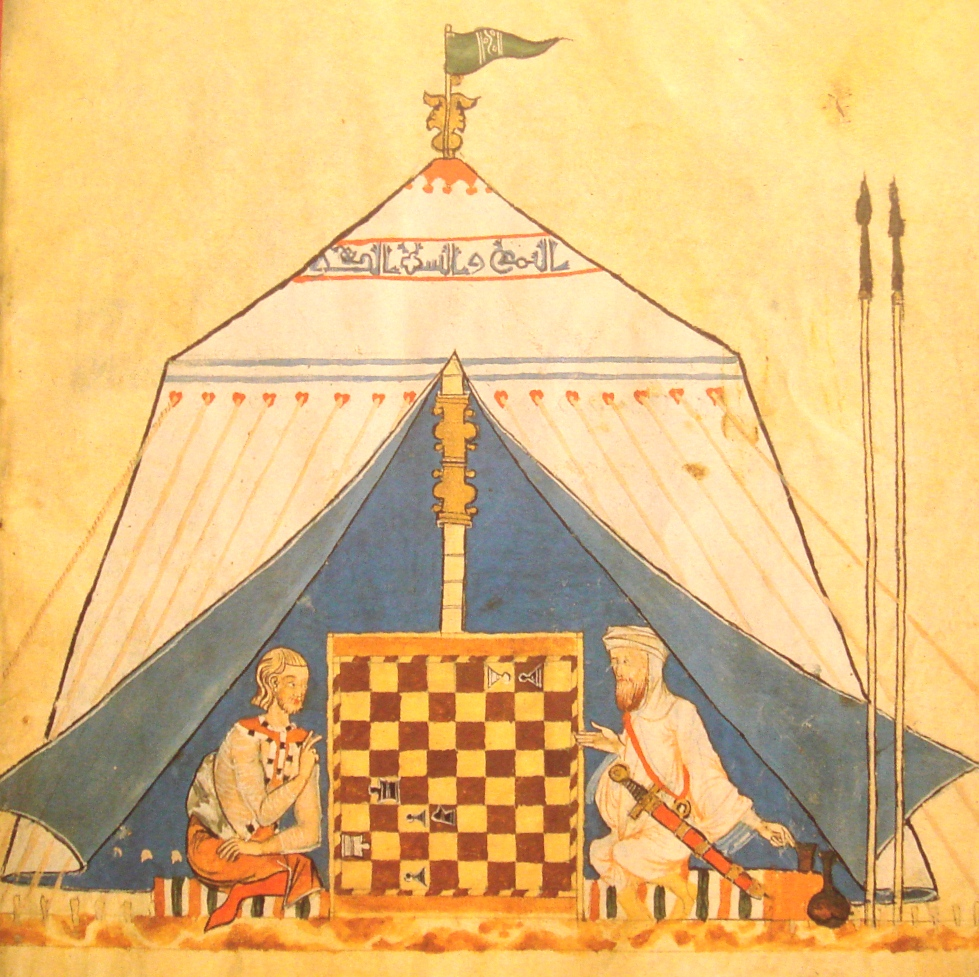 A Christian and  a Muslim playing chess in medieval Spain