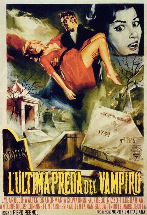 Poster from Italian vampire movie L'ultima preda del vampiro / The Playgirls and the Vampire (Piero Regnoli, 1960).