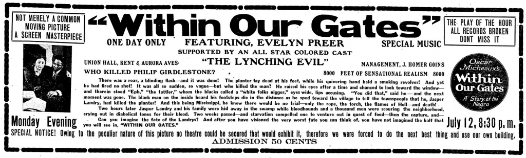 """Advertisement for 'Within Our Gates"""""""