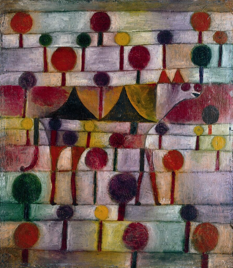 Paul Klee's painting Camel in Rhythmic Landscape with Trees, a brightly coloured, two-dimensional abstract artwork.