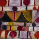 Detail from the Paul Klee painting Camel (in Rhythmic Landscape with Trees, showing an brightly coloured abstract image of a camel surrounded by trees
