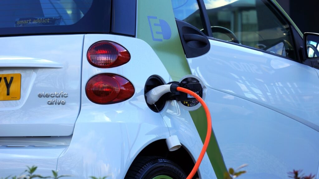 Example of an electric vehicle plugged into a port