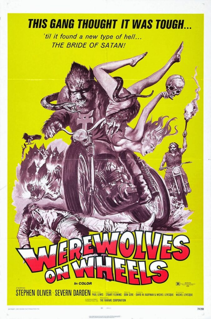 Number 2 lesser known werewolf film is a poster for Werewolves on Wheels (1971)