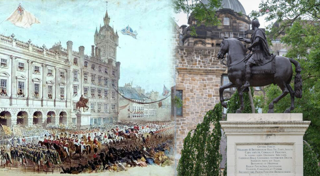 Image showing the Equestrian Statue of William of Orange during the Georgian period and in present day.