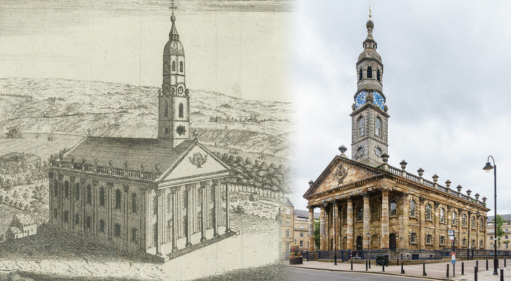 Image showing St. Andrew's in the Square during the Georgian period and in present day.