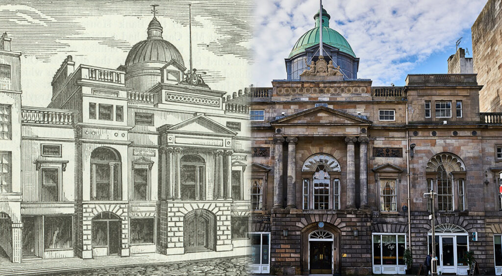 Image showing the Trades Hall during the Georgian period and in present day.