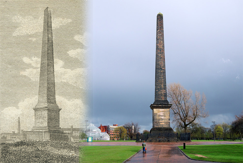 Image showing The Nelson Monument during the Georgian period and in present day.