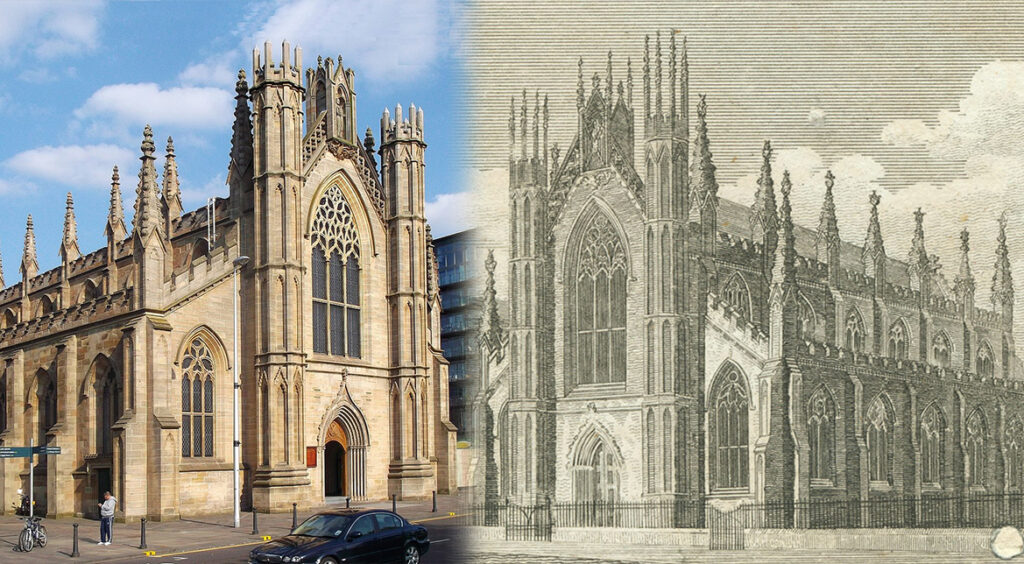 Image showing St. Andrew's Roman Catholic Chapel  during the Georgian period and in present day.