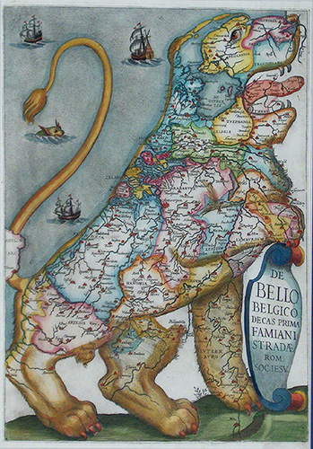 Leo Belgicus: illustration of a map of the Low Countries in the form of a Belgic lion