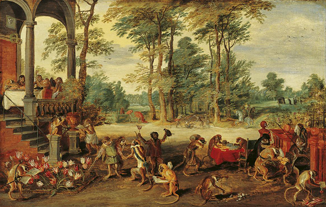 Image of the painting 'Satire on Tulip Mania' by Jan Brueghel the Younger, showing monkeys with tulips.