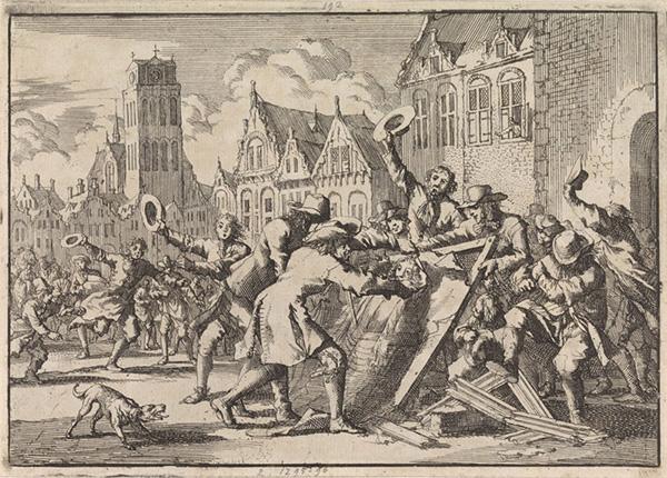 Scan of the artwork The Destruction of Jan de Baen's Allegory on Cornelis de Witt' by Jan Luyken