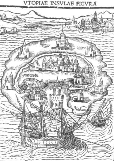 Illustration of Thomas More's Utopian island.