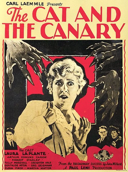 """Movie poster for The Cat and the Canary (1927). A vintage movie poster showing a woman surrounded by clawed hands, text below reads """"A Paul Leni Production""""."""