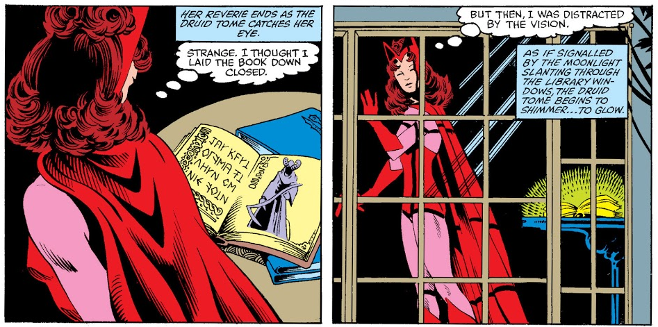 Two panels from the Vision and the Scarlet Witch comic, showing Wanda contemplating a magic book.