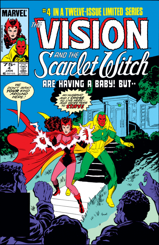 """Family was a theme in Vision and the Scarlet Witch comics. Image: Cover of Vision and the Scarlet Witch (1985-1986) #4, Richard Howell (a), Marvel Comics. A comic book cover featuring the Scarlet Witch and Vision with the title """"The Vision and the Scarlet Witch are having a baby! But..."""""""