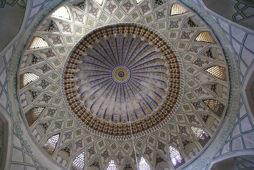 An interior shot of the dome in the Abu Nasr Parsa Shrine