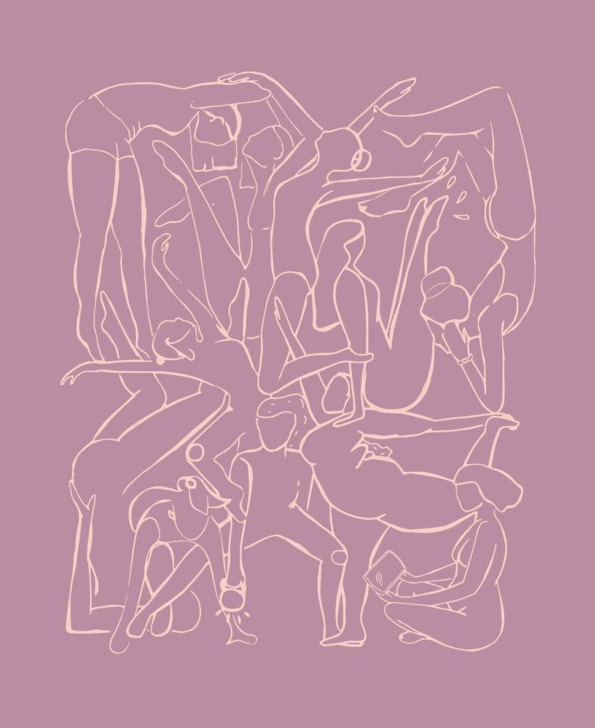 An illustration of bodies intertwining by Tani Klein