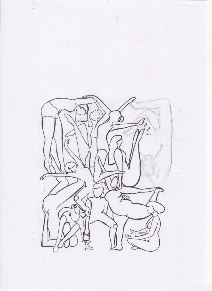 An illustration of human bodies intertwining, draw by Tani Klein