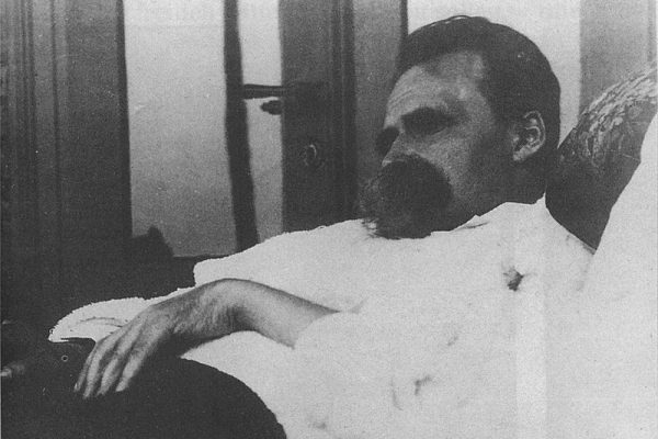A photo of Nietzsche laying down